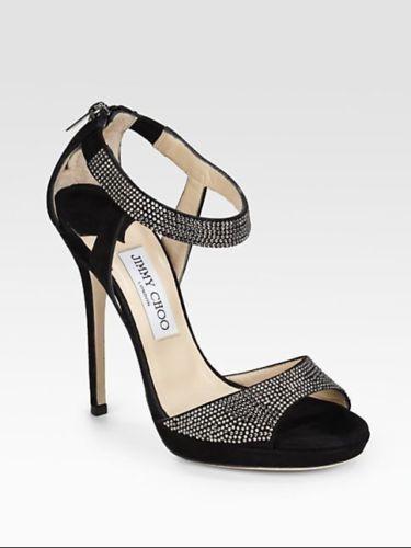 JIMMY CHOO Lancer Crystal-Embellished Suede Sandals (Size 37)