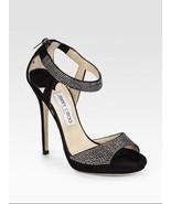 JIMMY CHOO Lancer Crystal-Embellished Suede Sandals (Size 37) - $399.95