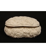 Rosebud Pattern Heart Shape Lidded Trinket Box by Lenox - $7.00