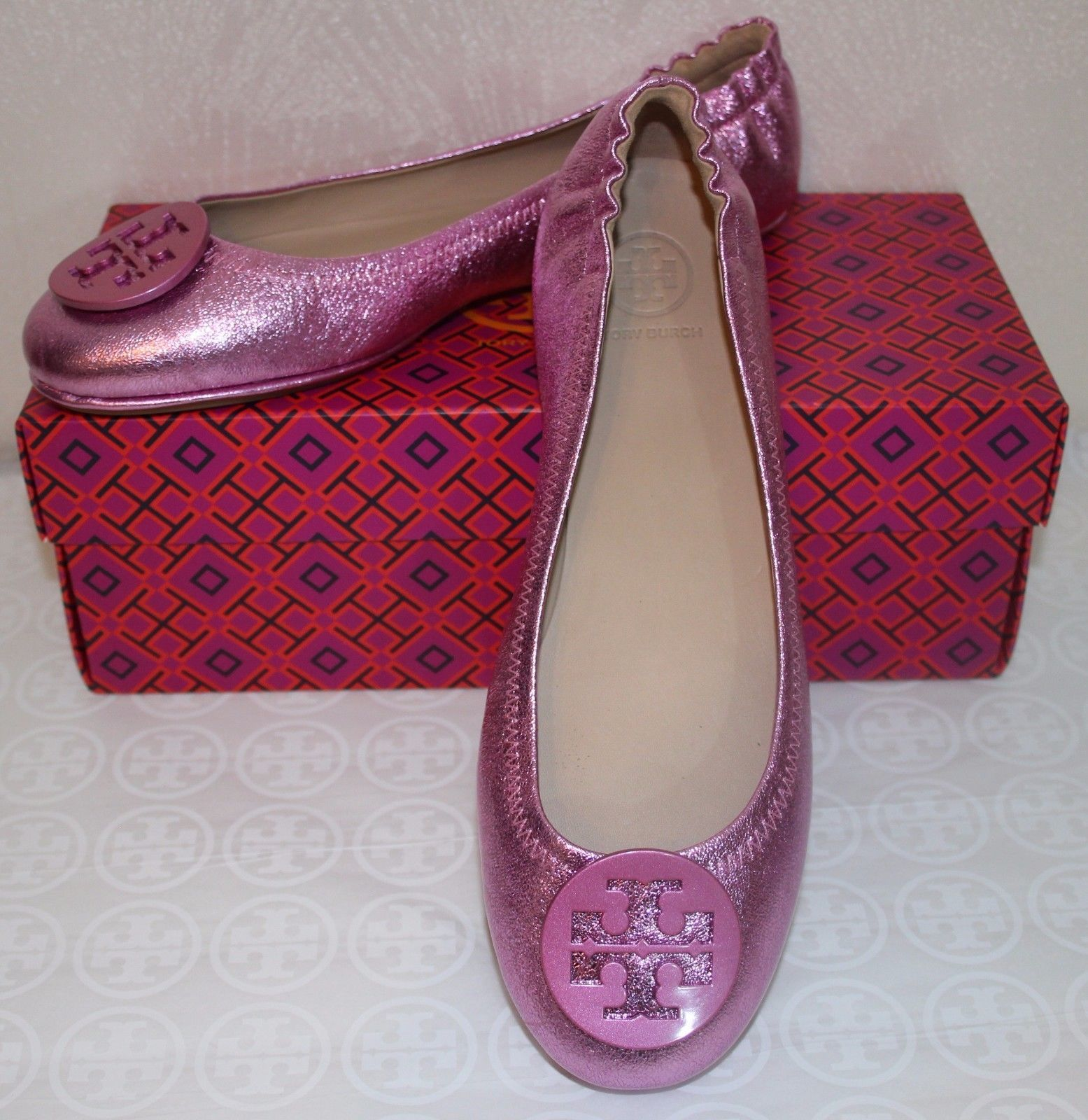 7a3ea010ff8 S l1600. S l1600. Previous. Tory Burch Minnie Travel Ballet Flat Size 7  Shoes Flats Pink Metallic Leather
