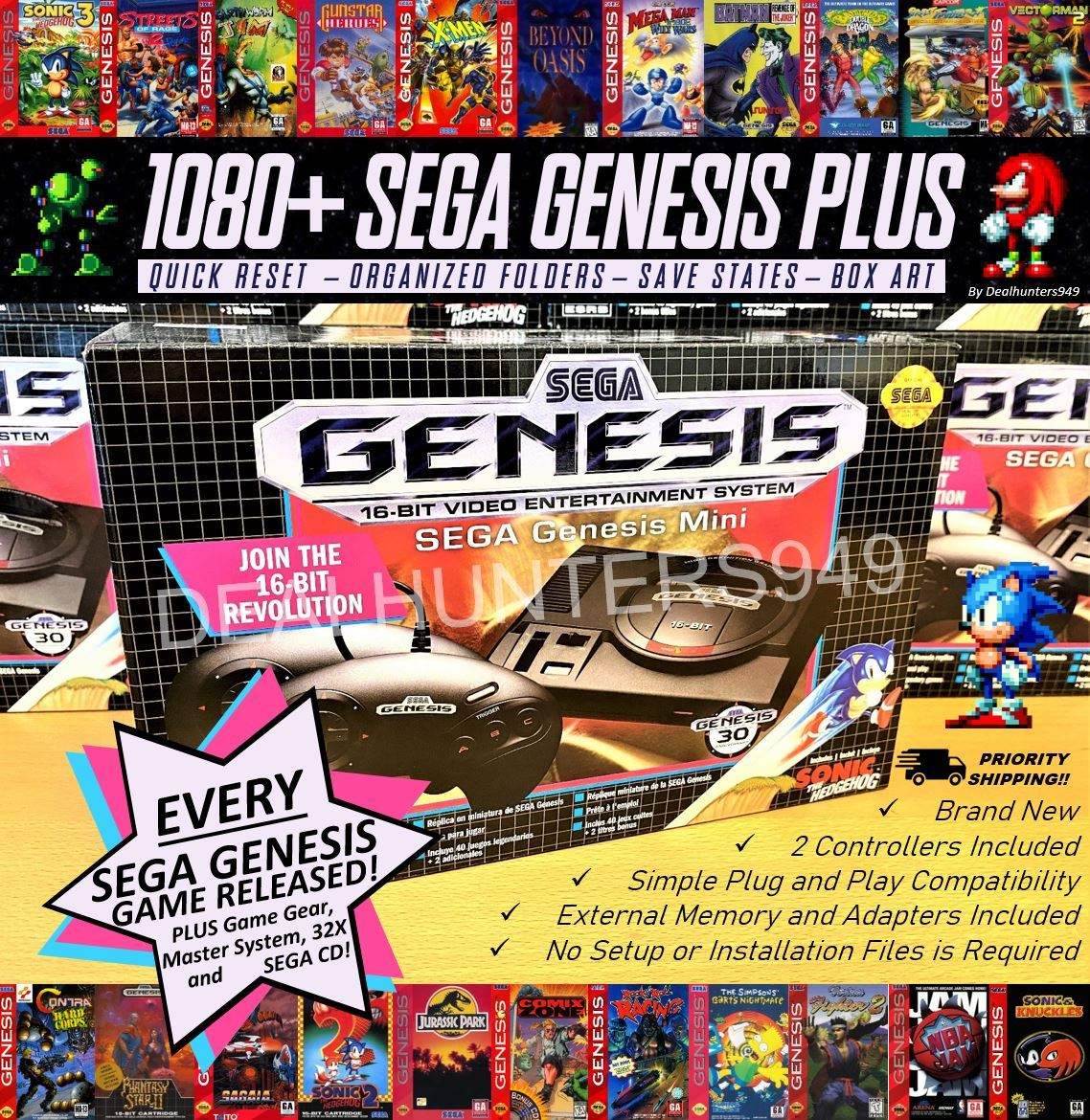 Primary image for SEGA GENESIS 1080+ (Entire Sega Library) Classic Mini w/ Game Gear, 32x, Sega CD