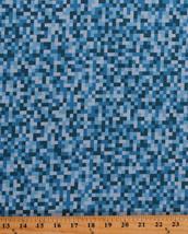 Cotton Blue Bitmap Pixels Digital Building Blocks Video Gamer Fabric BTY... - $11.95