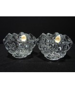 Pair of Two Crystal Rock Cut Votive Candle Holders, Germany  - $16.00