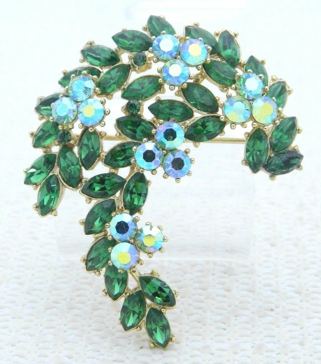 Primary image for VTG 1961 CROWN TRIFARI Gold Green AB Rhinestone Leaf Flower Pin Brooch
