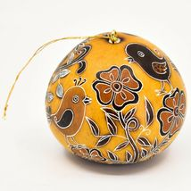 Handcrafted Carved Gourd Art Whimsical Whimsy Birds Ornament Made in Peru image 4