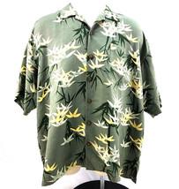 Tommy Bahama 100% Silk Floral Green S/S Hawaiian Camp Shirt Mens XXL - $48.78
