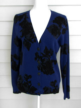 Talbots Cobalt Blue & Black Floral Long Sleeve Cardigan Sweater Size Small - $22.77