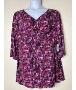 NWT Catherines Women Plus Size 2X Pink Crosshatch Pattern Knot Blouse 3/4 Sleeve - $31.68