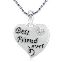 Best Friend Ever Pendant With Chain In White Gold Finish 925 Silver Round Cut CZ - $43.55