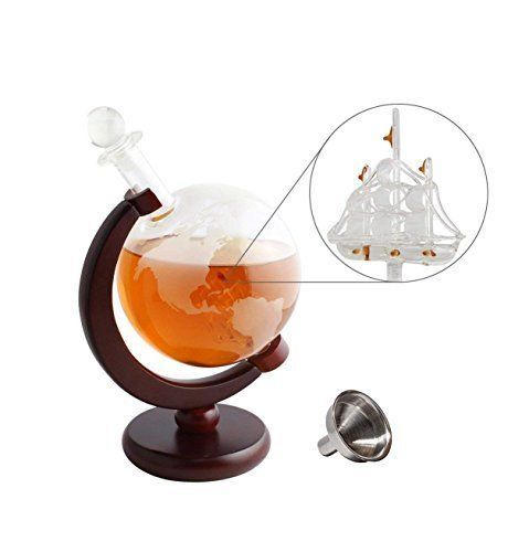 Tabletop Whiskey Decanter Set 1000ml Globe Glasses and Stainless Steel Stones