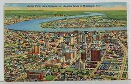 New Orleans La Aerial View Showing Bends in Mississippi River Postcard M18 - $9.95