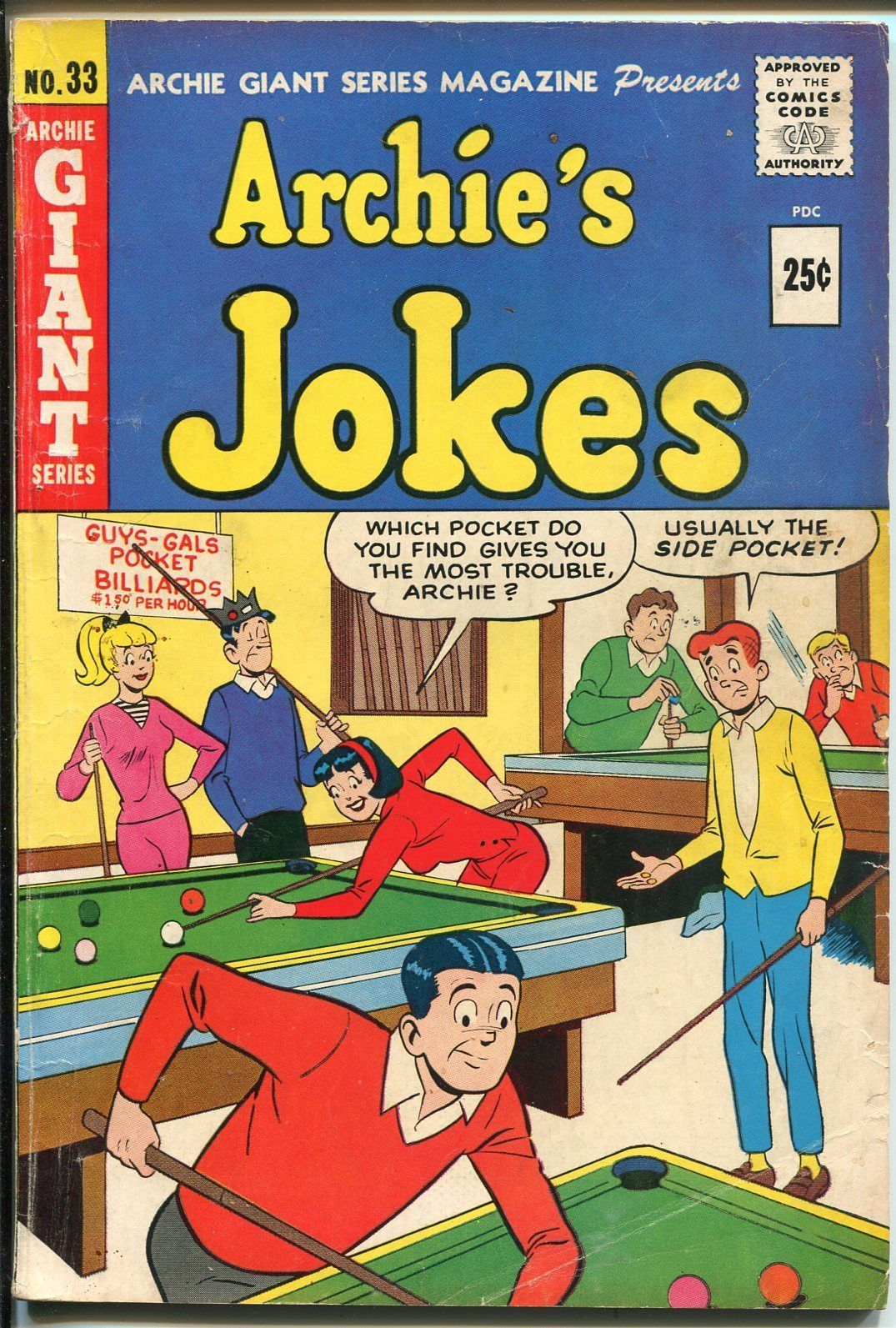 Primary image for Archie's Jokes #33 1965-Archie Giant-Betty-Veronica-pool hall cover-VG