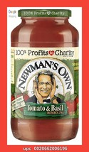 Newmans Own, Sauce Pasta Tomato Basil, 24 Ounce, 4 Glass Jars Included - $27.00