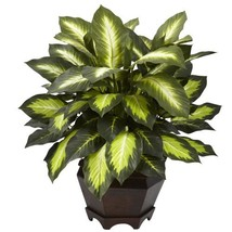 Nearly Natural 6720 Triple Golden Dieffenbachia Plant with Wood Vase, Green - $48.44