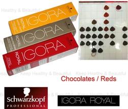 1x Schwarzkopf IGORA Permanent Color Creme Chocolates / Reds 60ml  - $9.50