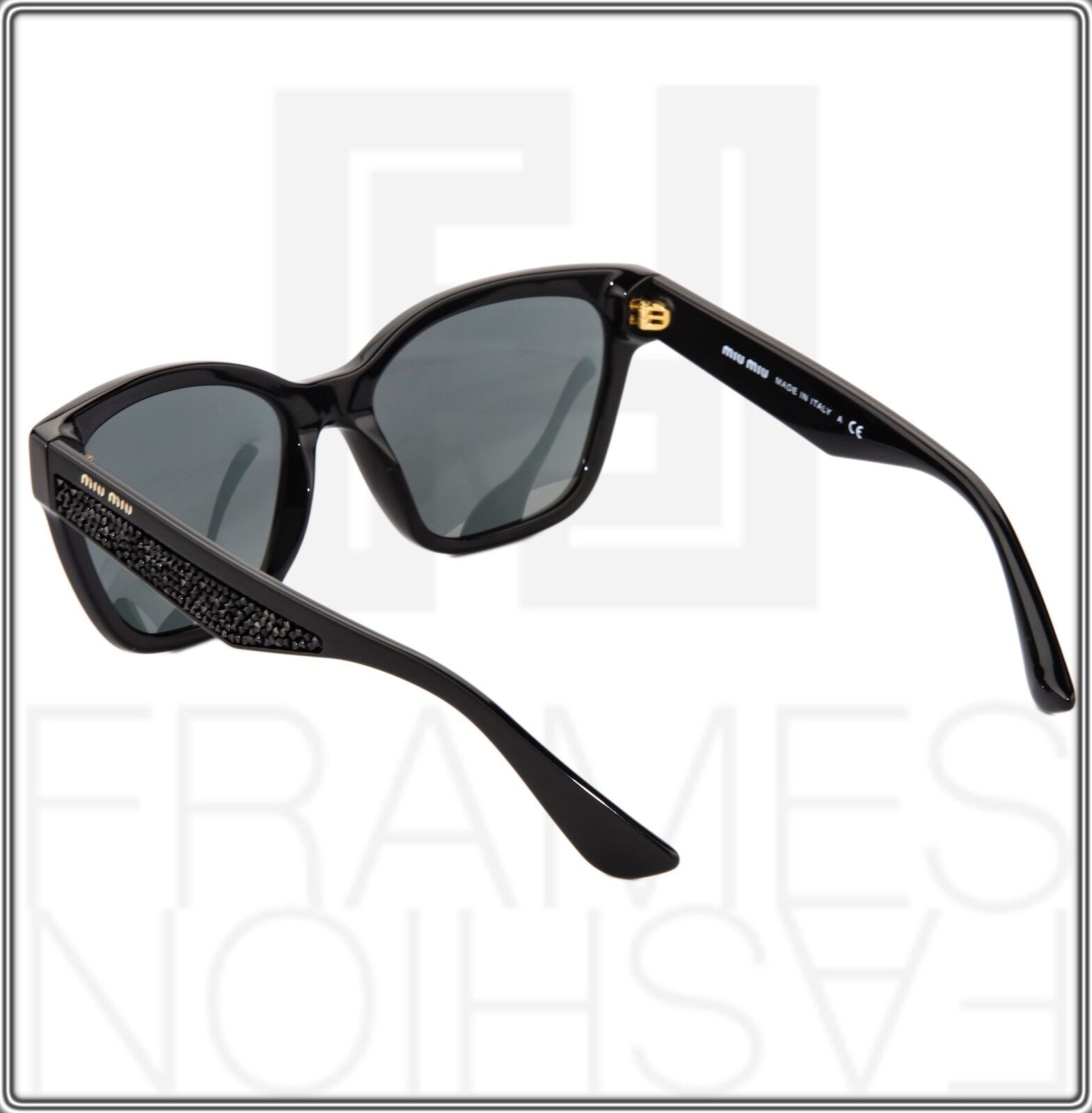 MIU MIU PAVE EVOLUTION MU 06R Square Black Rock 1AB-1A1 Sunglasses MU06RS Women image 5