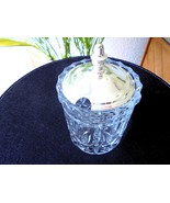 Vintage Clear Crystal Metal Top Round Jam Pot - $16.83