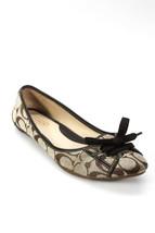 Coach Womens Flats Beige Monogram Fabric Canvas Jayne Tie Shoes 8 A2150 $100 8 - $65.00
