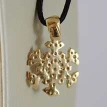 18K YELLOW GOLD SNOWFLAKE PENDANT 19 MM, 0.75 INCHES, ZIRCONIA, MADE IN ITALY image 4