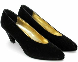 Nina Women Classic Pumps Size US 7.5N Velvet Satin Black - $6.85
