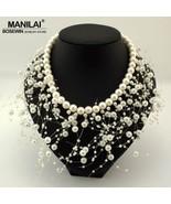 MANILAI Fashion imitation Pearls Tassel Necklace Women Bib Cluster Jewel... - £17.96 GBP