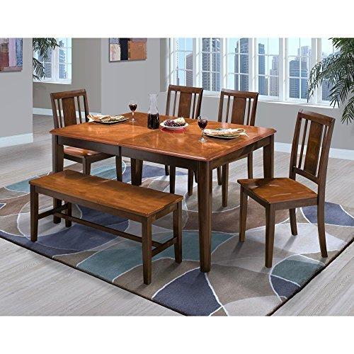 Curved Corner Dining Bench: Labelle 6 Piece Round Corner Dining Table, 4 Slat Back