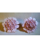 """Vintage 1950s EARRINGS Pink Floral & Leaf Molded Screwback 1 1/8"""" Across - $10.00"""