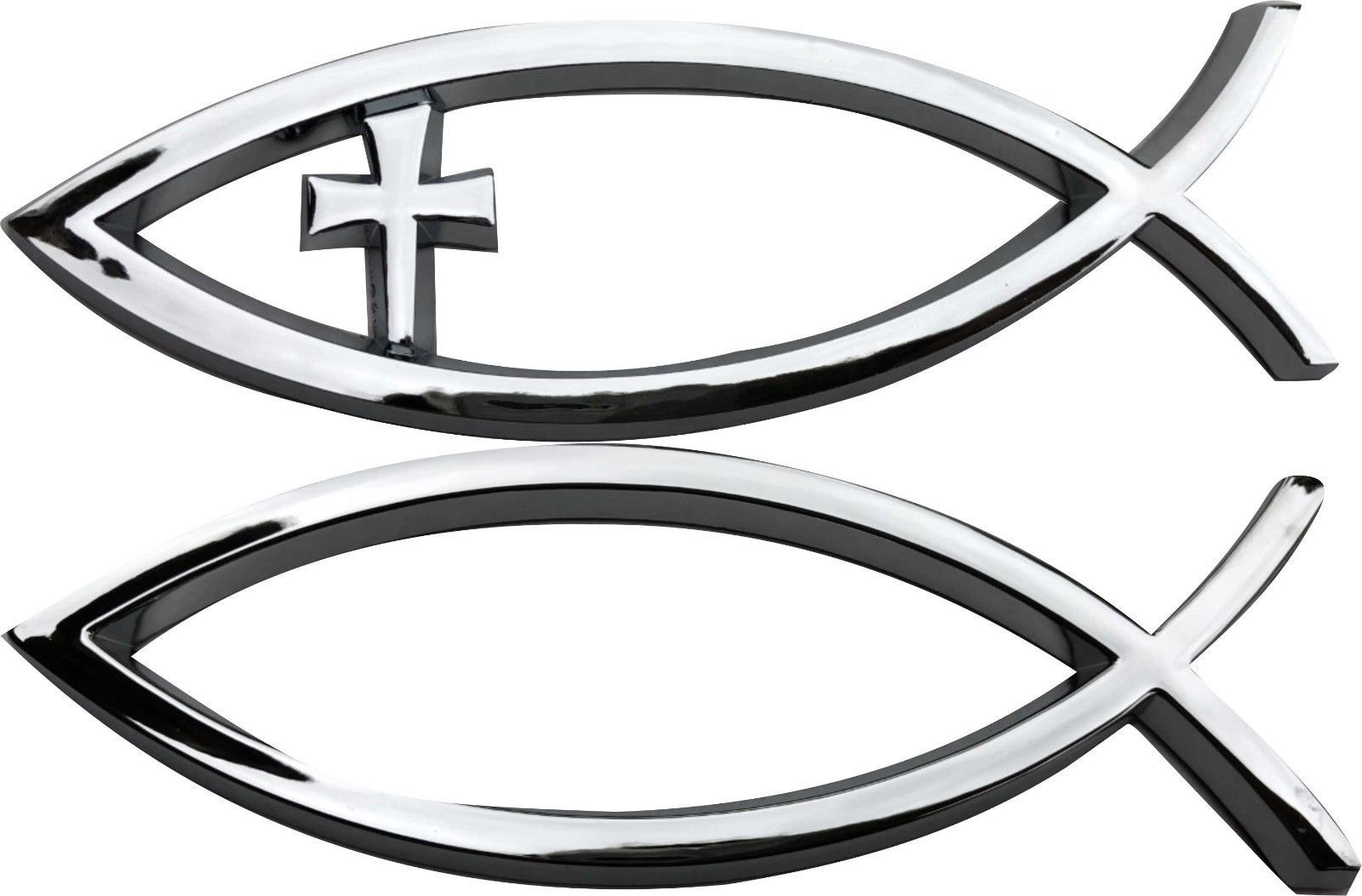 3d Car Chrome Decal Sticker Cross God Fish And Similar Items