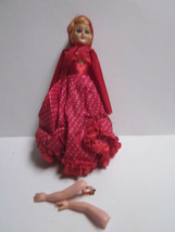 "VINTAGE SLEEPY EYES 7"" TALL LIL RED RIDING HOOD GIRL DOLL - $9.99"
