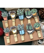 10pcs Flower  wooden Clips,Photo Paper Wood Pegs with hemp rope,Pin Clot... - $1.00
