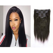 Loxxy Double Wefts Yaki Straight Clip in Hair Extensions 8A Grade Real Remy Huma - $80.99+