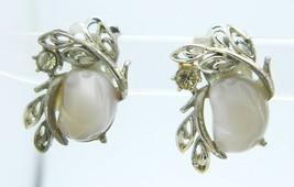 CORO Beige Molded Thermoset Rhinestone Silver Tone Flower Clip Earrings ... - $19.79