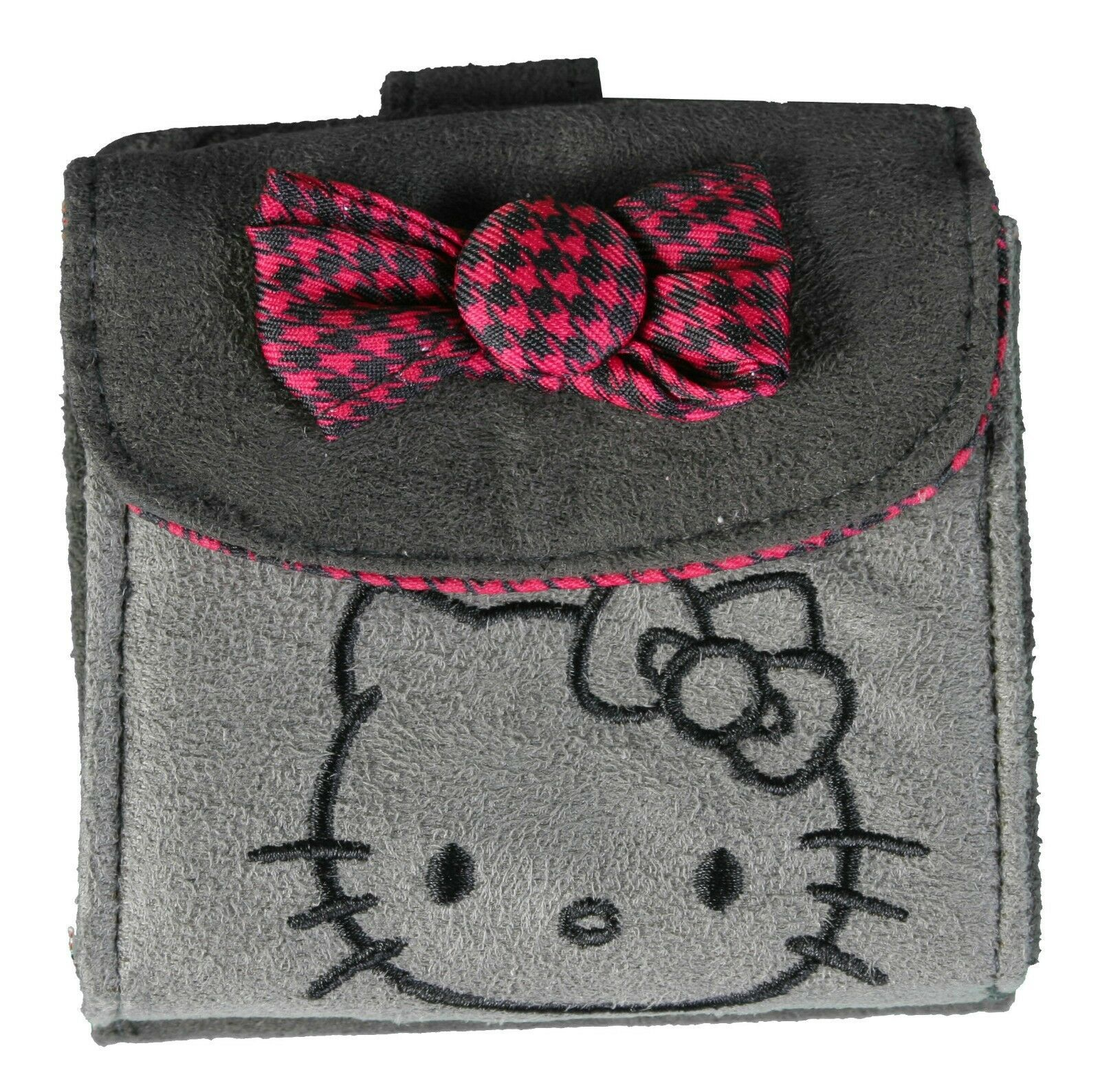 "4"" Sanrio Hello Kitty Grey Micro Suede Flap Wallet Magenta Houndstooth Bow NWT"