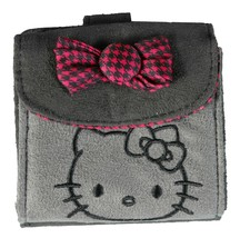 "4"" Sanrio Hello Kitty Grey Micro Suede Flap Wallet Magenta Houndstooth Bow NWT image 1"