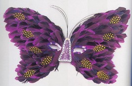 MARDI GRAS PURPLE BUTTERFLY FEATHER MASK - $9.00