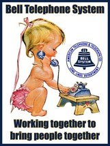 Bell Telephone Working Together Advertisement Little Girl Calling Metal ... - $29.95