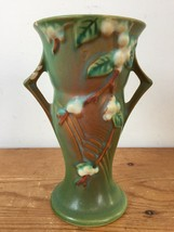 Vintage 1940s Roseville Art Pottery USA V-6 Green Winterberry Handled Va... - $100.00