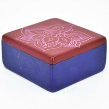 "Vaneal Group Hand Carved Kisii Soapstone Red & Blue Floral Flower 3"" Trinket Box image 3"