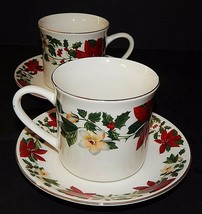 2 Gibson Designs Poinsettia Christmas Cups and Saucers Stoneware Red Green - $29.69