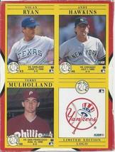 1991 Fleer Wax Box Panel Nolan Ryan Andy Hawkins Terry Mulholland Yankee Logo - $1.00