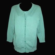 Sz L Talbots Mint Green Pima Cotton Blend Cardigan Three Quarter Sleeve Sweater - $29.69