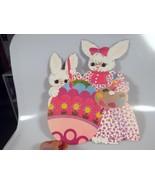 "Vintage Dennison Easter Bunny Painting Egg Die Cut Cardboard Decoration Rare 14"" - $18.99"