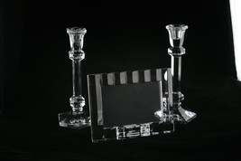 Marquis By Waterford 4X6 Crystal Frame Made In Germany & Two Candle Holders - $88.11