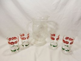 Vintage Orange Juice Dimpled Embossed Pitcher & 4 Red & White Flowered G... - $19.20