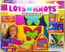 Kids Knot Quilt Pillow Purse Maker Fleece No Sew Craft Kit with Applique... - $24.99