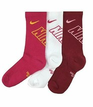 NIKE Girl's' 3PK Young Athletes Graphic Crew Socks 3Y-5Y SX6959-909 - $19.99
