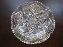 """Large 9"""" round Cut Glass basin Shallow 3"""" deep Cut Glass basin elaborate... - $56.36"""