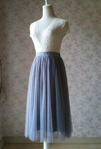 Women Tulle Midi Skirt Gray High Waisted Tulle Midi Skirt Plus Size Pleated Gray