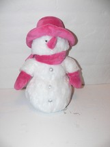 "Animal Adventure Snowman 13"" Plush Stuffed Animal pink & white mm - $9.99"