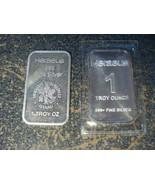lot of 2 x 1 oz Troy Vintage Fine Silver Bars Heraeus Edelmetalle Hanau ... - $101.97